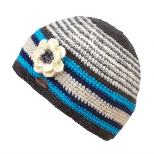 Crochet Beanie Hat - Kusan - Blue with Crochet Flower